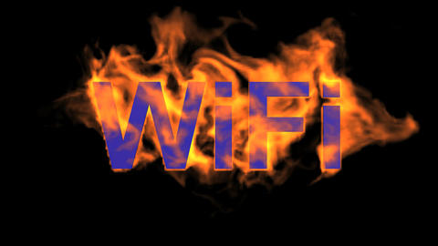 flame wifi word,fire text Animation
