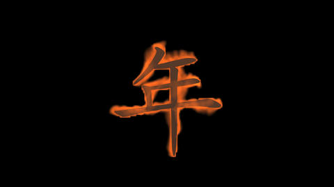 "burning Chinese character ""year"",fire text Stock Video Footage"