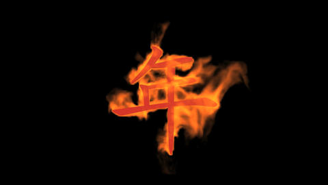 "burning Chinese character ""year"",fire text Animation"
