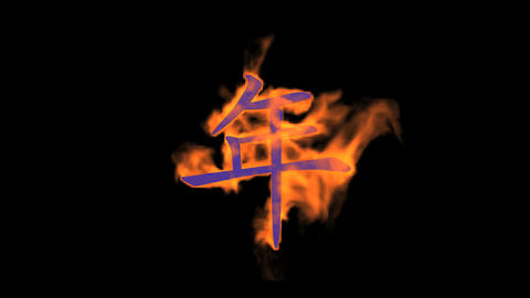 "Burning Chinese Character ""year"",fire Text stock footage"