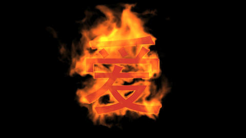 """burning Chinese character """"love"""",fire text Stock Video Footage"""