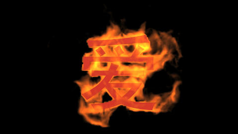 "burning Chinese character ""love"",fire text Stock Video Footage"