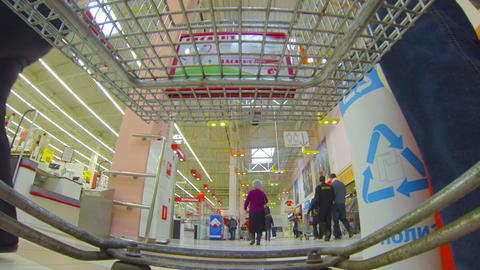 Shopping basket, supermarket Stock Video Footage