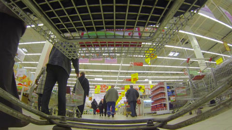 Shopping basket, supermarket Stock Video Footage