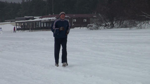 The man running in the snow Footage