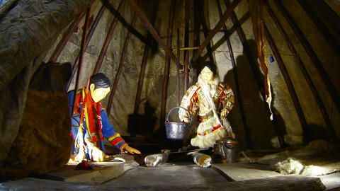 Chukchi living in a hut Footage