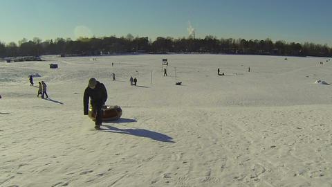 Children, slide, down, icy, hill Footage