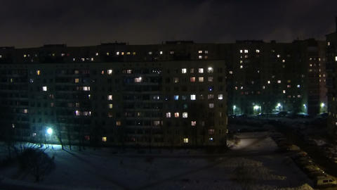 Night city. The lights in the Windows Stock Video Footage