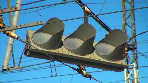 Faulty Traffic Light Hanging On A Wire stock footage