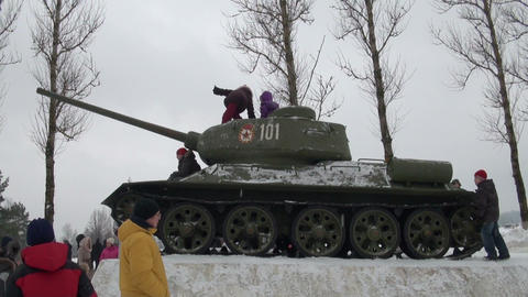 Children play on the tank Footage