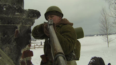 Soldiers aim, rifle Stock Video Footage
