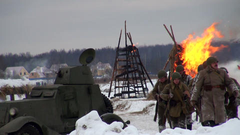 Soviet Soldiers In The War At Leningrad stock footage
