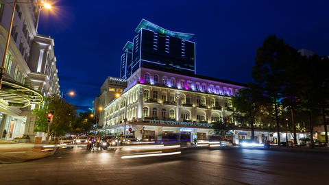 4K - TIMELAPSE - SAIGON HOTEL CONTINENTAL AT NIG Stock Video Footage