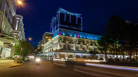 4K - TIMELAPSE - SAIGON HOTEL CONTINENTAL AT NIG Stock Video Footage