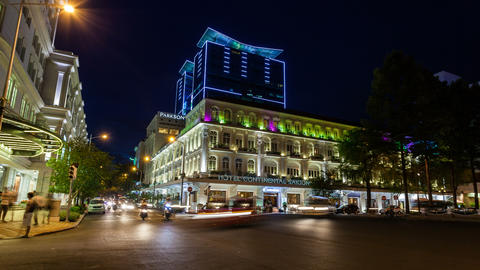 4K - TIMELAPSE - SAIGON HOTEL CONTINENTAL AT NIG stock footage