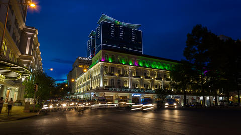 4K - TIMELAPSE - HOTEL CONTINENTAL IN SAIGON Stock Video Footage