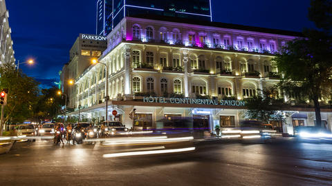 TIMELAPSE - HOTEL CONTINENTAL IN SAIGON Stock Video Footage