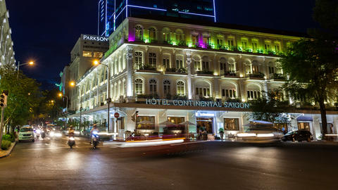 TIMELAPSE - HOTEL CONTINENTAL IN SAIGON Footage