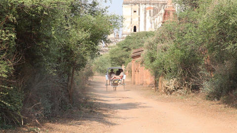 Cart near pagoda in Bagan Footage