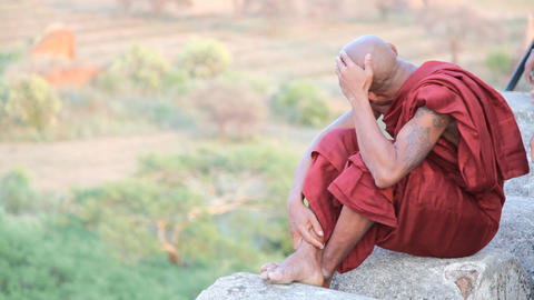 Monk on Bagan temple Footage
