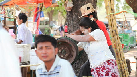 Market near Ananda temple in Bagan Stock Video Footage