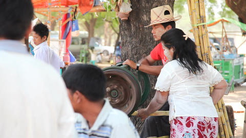 Market near Ananda temple in Bagan Footage