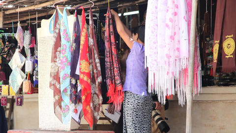 Market near Bagan temple Stock Video Footage