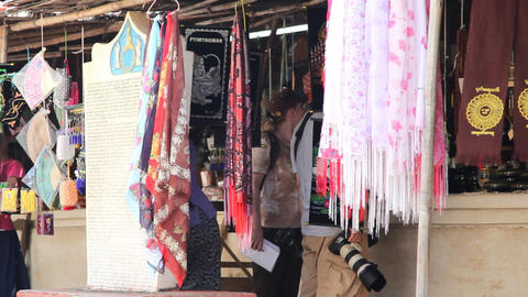 Market near Bagan temple Stock Video Footage