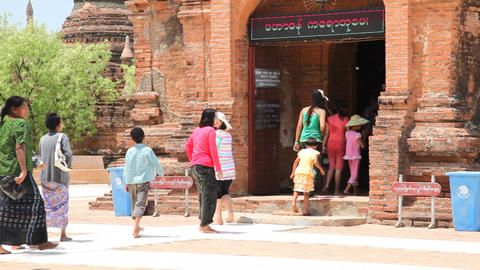 Entrance of Bagan temple Stock Video Footage