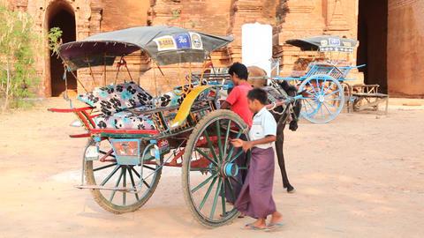Horse Cart near Bagan temple Stock Video Footage