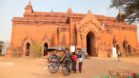 Horse Cart near Bagan temple Footage