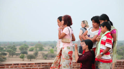 Visitors in Bagan temple Stock Video Footage