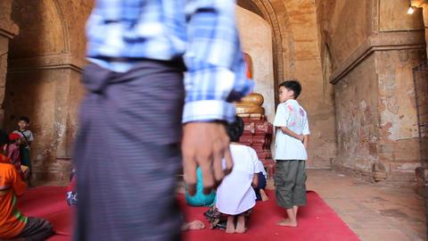 Visitors inside pagoda in Bagan Stock Video Footage