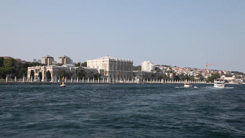 Travel along Dolmabahce Palace Stock Video Footage