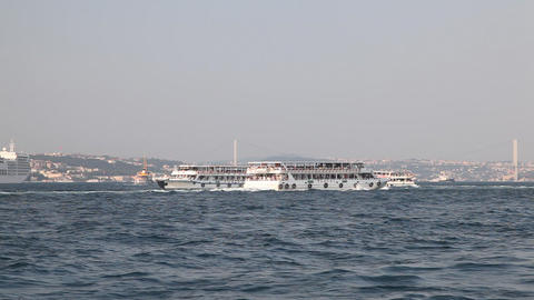 Ships in the Golden Horn Bay Footage