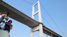 Travel under Bosphorus bridge Stock Video Footage