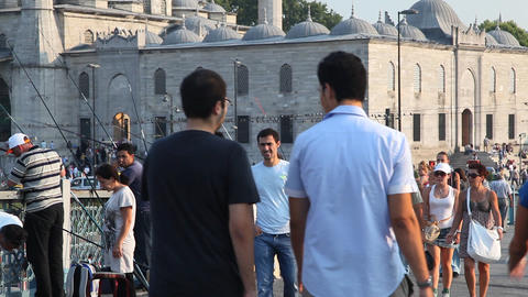 People walking on Galata bridge Footage