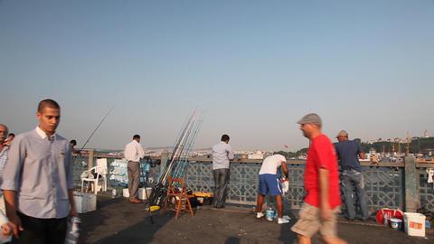 People walking on Galata bridge Stock Video Footage
