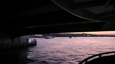 Travel under Galata bridge Footage
