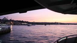Travel under Galata bridge Stock Video Footage
