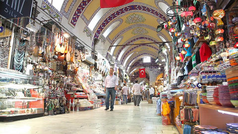 Grand bazaar interior panorama Stock Video Footage
