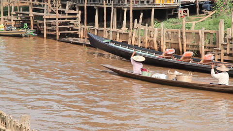 Boats at the Ywama pagoda Footage