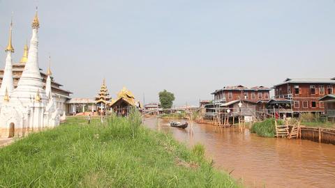 Boats at the Ywama pagoda Stock Video Footage