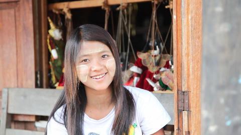 Burmese Girl - souvenir seller Stock Video Footage
