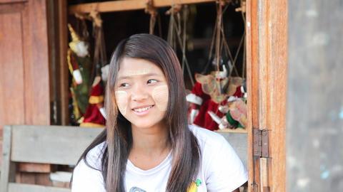 Burmese Girl - souvenir seller Footage