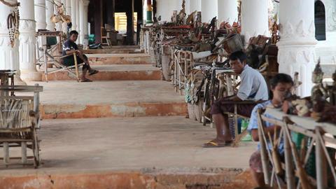 Sellers in Indein pagoda, Myanmar Stock Video Footage