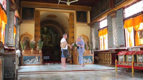 Visitors in Indein pagoda, Myanmar Stock Video Footage