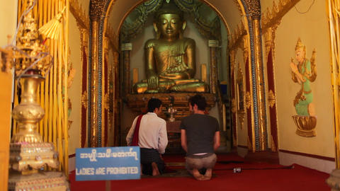 Visitors in Indein pagoda, Myanmar Stock Video Footage