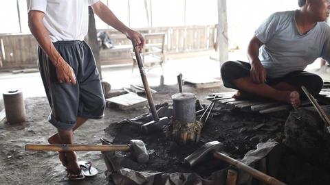 Blacksmith's shop on Inle lake Stock Video Footage