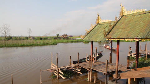 Boat pier in Nga Phe Kyaung Monastery Stock Video Footage